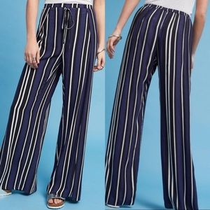 Maeve Navy Striped Wide Leg Pants